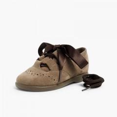 Sapatos estilo Inglês Crianças de Camurça Cinzento-acastanhado