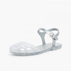 Sandálias de Borracha Menina Mara Mini Prata