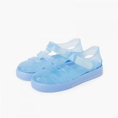 Sandálias de Borracha com Tira Aderente Sola de Cor Celeste
