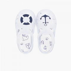 Sandálias de Borracha Náuticas Tira Aderente Branco