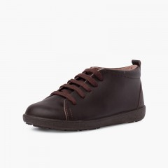 Sapatos Pele tipo Botins de Atacadores Castanho