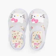 Sandálias de borracha Hello Kitty fecho aderente Branco