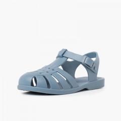 Sandálias de Borracha Criança Botão Cores Empoeiradas Azul