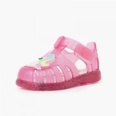 Sandálias de Borracha Glitter Unicórnio Tira Aderente Fúcsia