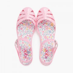 Sandálias de borracha menina fivela palmilha flores Rosa