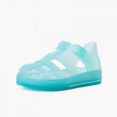 Sandálias de borracha sola ao tom e fecho botão clip Água-marinha