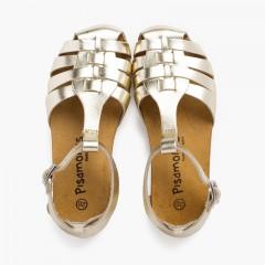 Sandálias mulher e criança pele sola bio Ouro