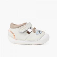 Sandálias sola flexível primeiros passos ursinho Celeste