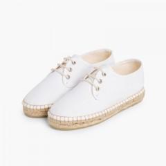 Sapatos Blucher de Lona com sola Alpargata Branco
