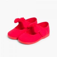 Sapatos Merceditas Lona tiras aderentes   Laço Liso Vermelho