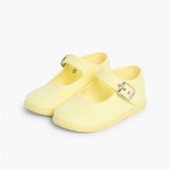 Sapatos Merceditas Tecido com Fivela Amarelo Limão