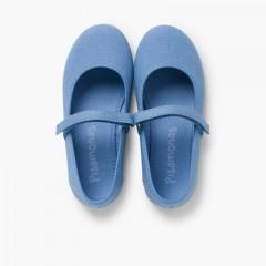 Sapatos Merceditas Tela com Tira Aderente Fina Azul Claro