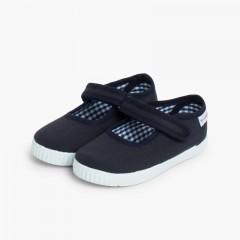 Sapatos Merceditas Menina tiras aderentes   Sola tipo Ténis Azul-marinho