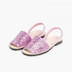 Sandálias Menorquinas Glitter Menina e Mulher Rosa