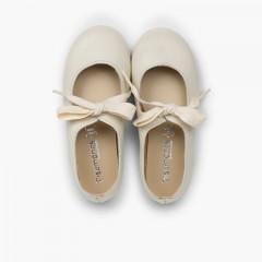 Sapatos Merceditas Pele Fecho Laço Cru