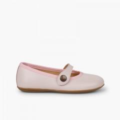 Sapatos Merceditas Pele Menina Comunhão Rosa