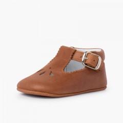 Sapatos bebé pepito pele detalhe perfurado Couro