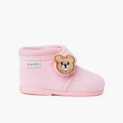 Pantufas Botinha Bombazine Urso Crianças Rosa