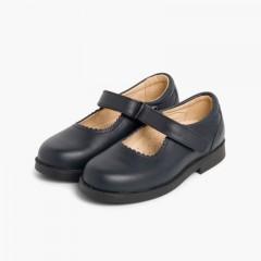 Sapatos Colegiais Menina com tiras aderentes     Azul-marinho