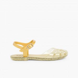 Sandálias de Borracha Menina Mara Mini Ouro