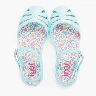 Sandálias de borracha menina fivela palmilha flores Água-marinha