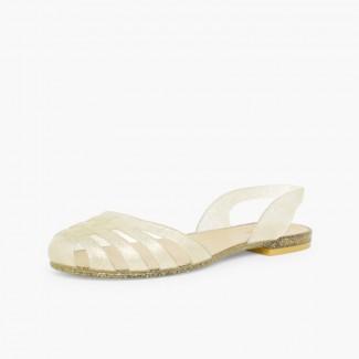 Sandálias de Borracha para Mulher Paris Ouro