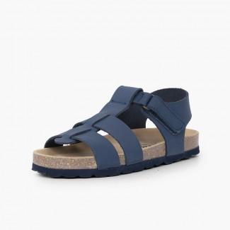 Sandálias Bio Criança Pele Nobuck Azul-marinho