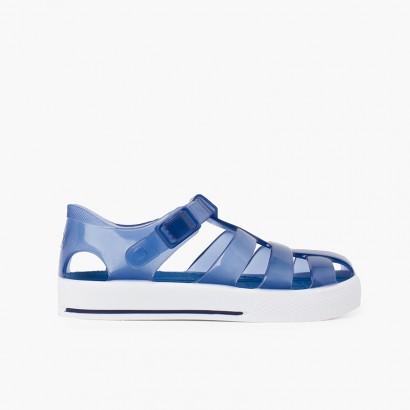 Sandálias de Borracha Fecho Clip Adorno Fivela Ténis Azul-marinho