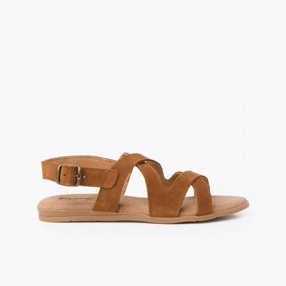 Sandálias de Camurça com Tiras Cruzadas Camel