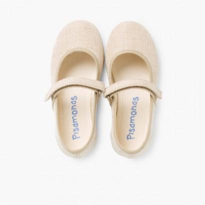 Sapatos Merceditas Linho com tiras aderentes   Fino Areia