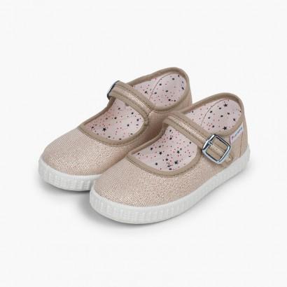 Sapatos Merceditas Fivela Lona com Brilhos Ouro