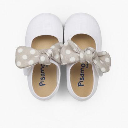 Sapatos Merceditas Laço às Bolinhas Branco e Cinzento