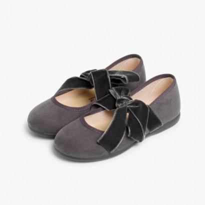 Sapatos Merceditas com Laço de Veludo Cinzento