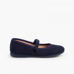 Sapatos Merceditas tipo Camurça com tiras aderentes   Azul-marinho