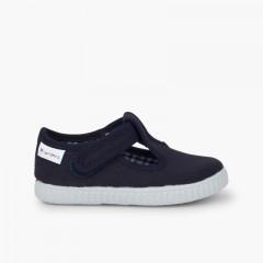 Sapato Pepito com tiras aderentes   sola ténis Azul-marinho