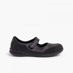 Sapatos Colegiais Laváveis Menina Merceditas Biqueira Reforçada  Preto