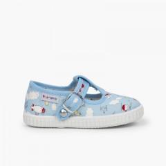 Sapatos Pepito Lona Estampada Fecho Botão Celeste