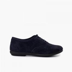 Sapatos Blucher Menina e Mulher Camurça Azul-marinho