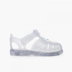 Sandálias de Borracha Glitter Unicórnio Tira Aderente Branco