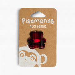 Elástico de cabelo com aplique urso estampado escocês Vermelho