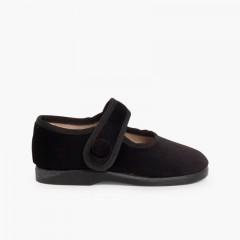 Sapatos Merceditas de Veludo com Botão tiras aderentes   Preto