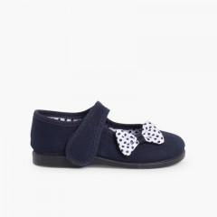Sapatos Merceditas de Lona tiras aderentes   Laço Bolinhas Azul-marinho