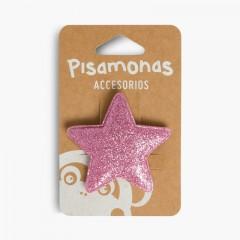 Travessão para o Cabelo com Estrela Glitter Rosa Pastel