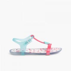 Sandálias de borracha Tricia Love Fúcsia e Água-marinha