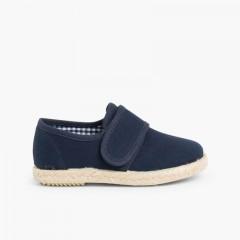 Sapatos Blucher tiras aderentes   Sola Alpargata Azul-marinho