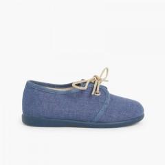 Sapatos Blucher Menino Lona Azul