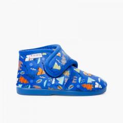 Pantufas bota fecho aderente estampadas Azul Bosque