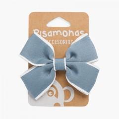 Gancho Pinça Laço Debruado Branco Azul França