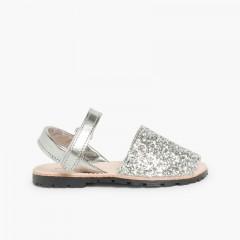 Sandálias Menorquinas Glitter com tiras aderentes   Prata