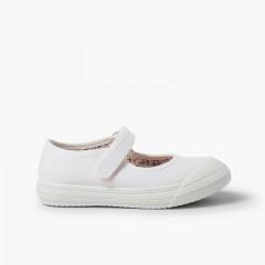 Sapatos Merceditas tiras aderentes   Biqueira Borracha Reforçada Branco